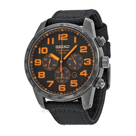 seiko sport solar black and orange chronograph s