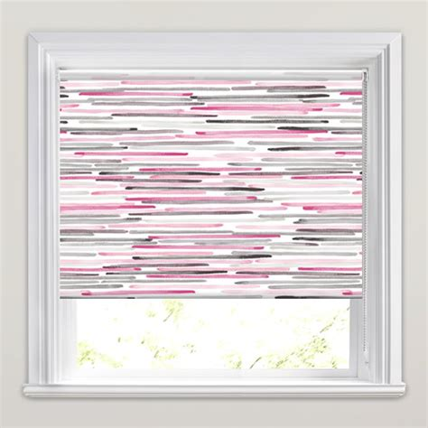 horizontal dashed striped roller blinds in pink grey amp white
