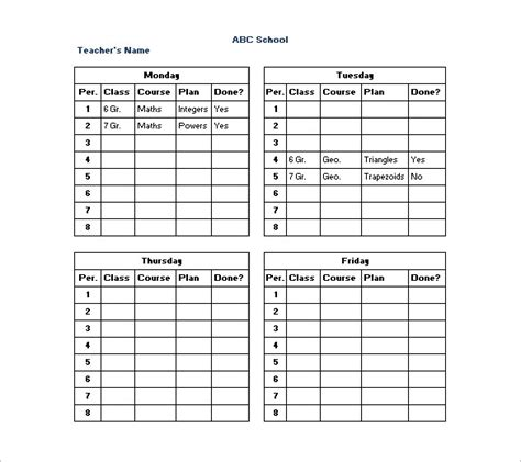 teaching timetable template schedule templates 12 free word excel pdf