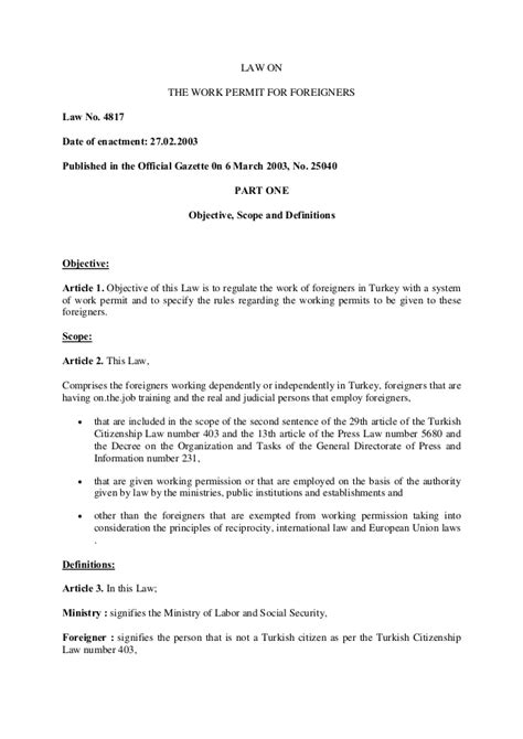 Cancellation Letter Of Work Permit The Work Permit For Foreigners No 4817 Eng
