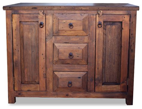 3 drawer reclaimed wood vanity 60x20x32 country
