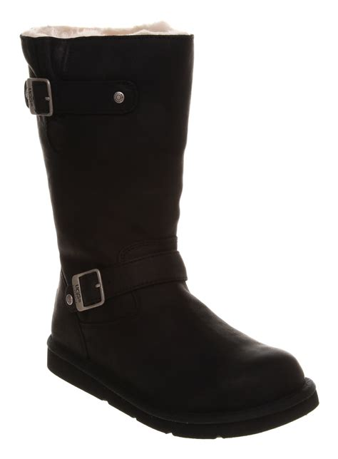 black leather ugg boots ugg kensington biker boot black leather in black lyst