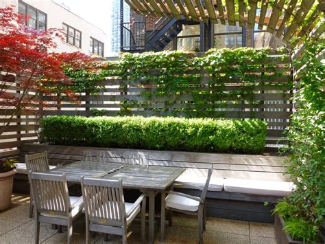 North Shore Dining Room Set fence plants patio traditional with roof garden green roof
