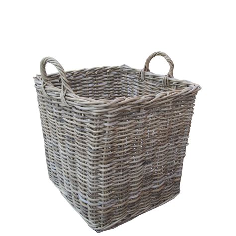 rattan baskets grey buff rattan square wicker log basket