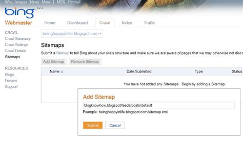 blogger search add a blogger sitemap to msn bing webmaster tools blog