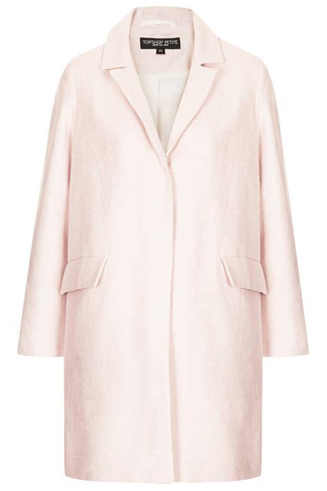 topshop swing coat topshop petite textured swing coat in pink pale pink lyst