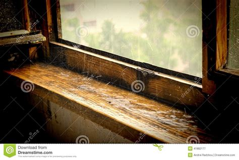 Cedar Window Sill Wooden Window Sill A Pouring Stock Photo