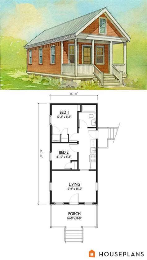 shotgun house floor plan architect pinterest small katrina cottage house plan 500sft 2br 1 bath by