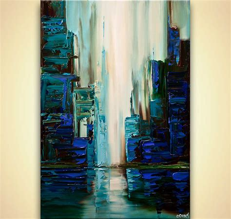 Painting And Cityscapes blue green city abstract painting textured cityscape