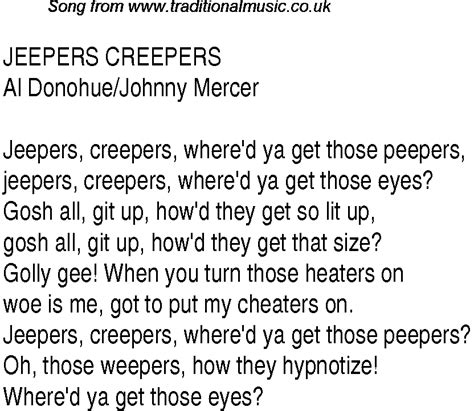 lyrics creeper top songs 1939 charts lyrics for jeepers creepers