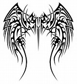 Tribal Cross and Wings Tattoo