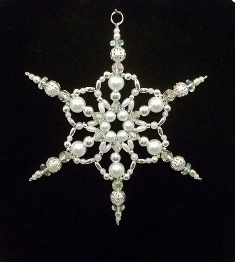 snowflake ornament white pearl silver and clear ab
