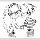Kissing Couple Sketch   608 x 556 png 167kB