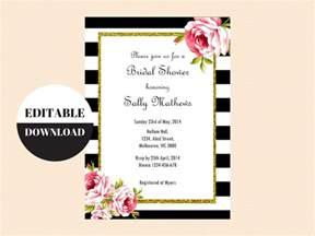 black and white floral editable invitation magical printable