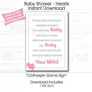 Baby Shower Clothespins by Baby Shower Clothespin Sign 5x7 Instant By