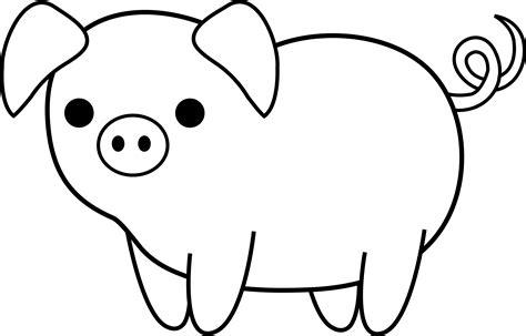 cute colorable piglet free clip art