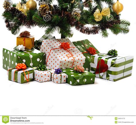 gift boxes with christmas tree under white background