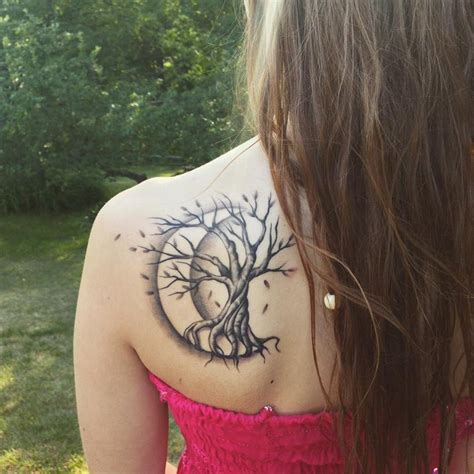 crescent tattoo tree with crescent moon ideas