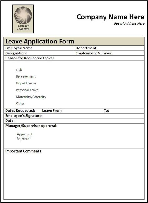 leave request form sle leave application form free word templates