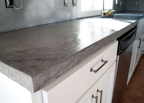 Paint Wood Kitchen Cabinets by Diy Concrete Counters Poured Over Laminate Averie Lane