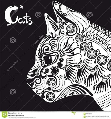 black and white pattern tattoo white cat decorative pattern for a tattoo or stencil