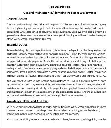 Inspector Description by 10 Plumber Description Templates Pdf Doc Free Premium Templates