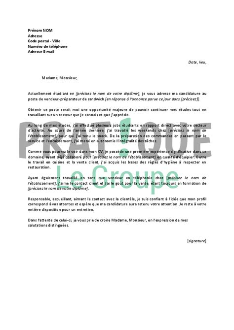 Lettre De Motivation Vendeuse L étudiant Lettre De Motivation Emploi Pour 233 Tudiant Application Cover Letter