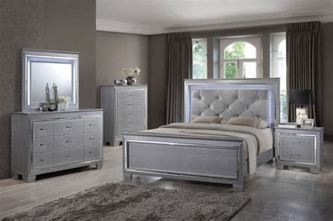 silver bedroom furniture martina silver bedroom set led lights