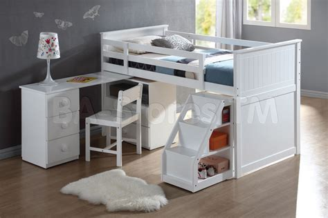 White Kids Loft Bunk Bed With Desk And Under Stairs White Bunk Bed With Desk Underneath