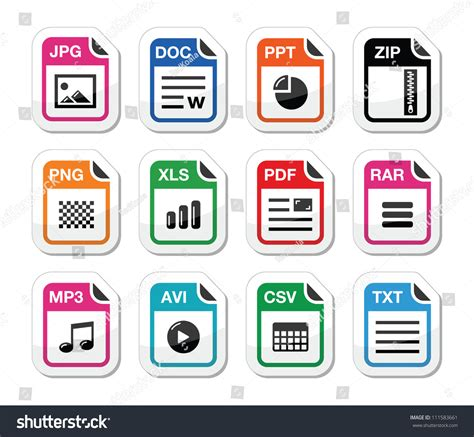 file type icons labels set zip stock vector