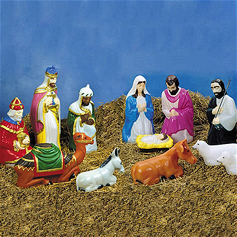 Light Up Nativity Sets For Outdoors Outdoor Lighted Molded Size Nativity Figures Decoration Ebay