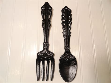 Spoon Wall Decor by Kitchen Wall Decor Large Fork Spoon Wall Decor Black By Junkintime
