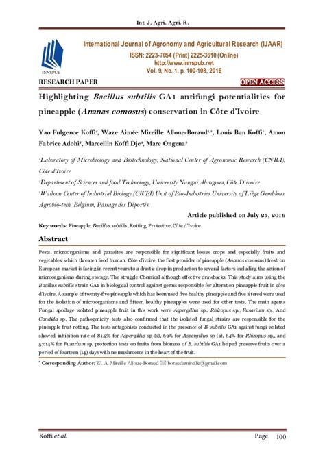 Research Paper On Pineapple by Highlighting Bacillus Subtilis Ga1 Antifungi Potentialities For Pinea