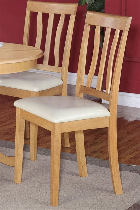 Oak Kitchen Chairs by Set Of 3 Dinette Kitchen Padded Dining Chairs With Leather Seat In Oak Finish Ebay