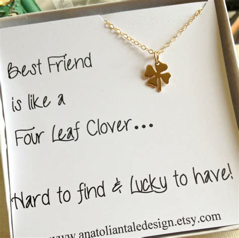 gift for friends four leaf clover necklace best friend gift by