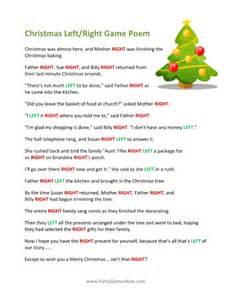 Printable left right christmas game poem printable christmas games