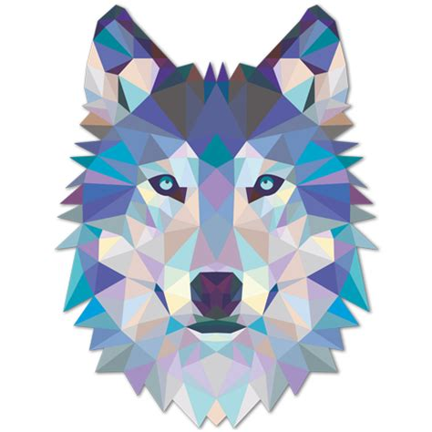 Cool Wall Mural wall sticker origami wolf head