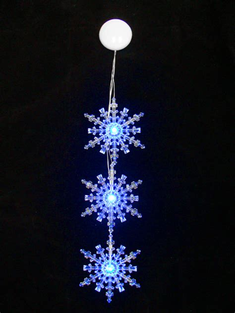 3pc blue led lighted snowflake christmas window decor