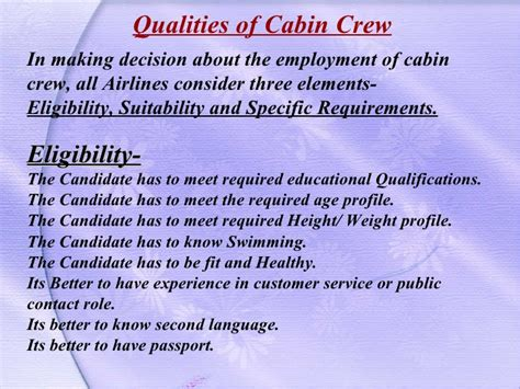 cabin crew qualification aviation presentation cabin crew