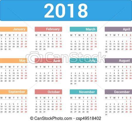 Kalender 2018 Med Veckor Kalender 2018 Vecka Eps10 Startar M 229 Ndag