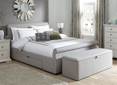 silver bed frame lucia silver fabric upholstered bed frame dreams