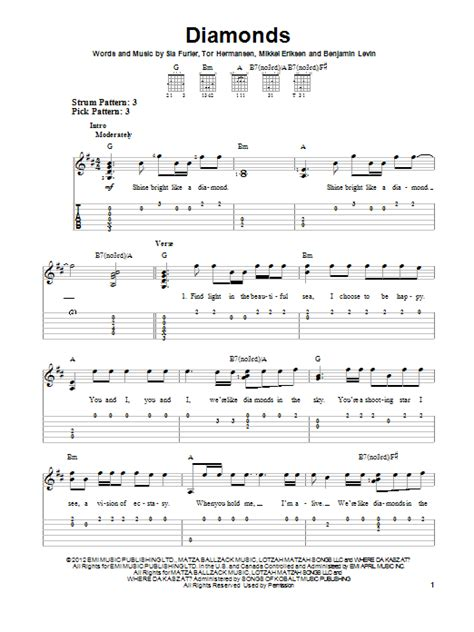 Guitar Tutorial Diamonds Rihanna | diamonds sheet music direct