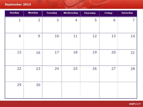 Calendar September 2013 Template Calendar September 2013 Rm Easilearn Us