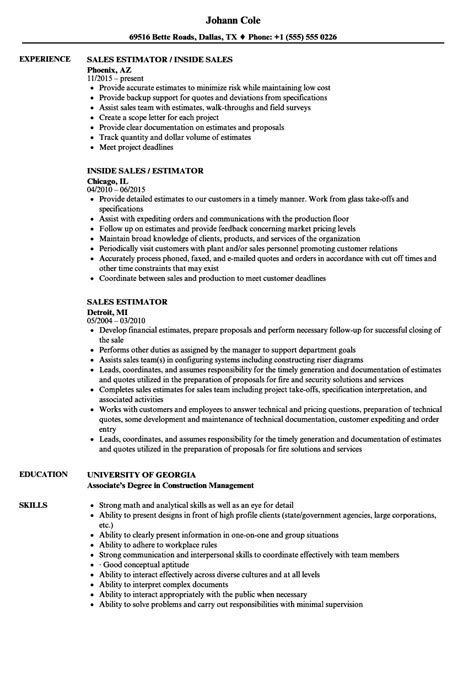 Estimating Assistant Sle Resume by Sales Estimator Resume Sles Velvet