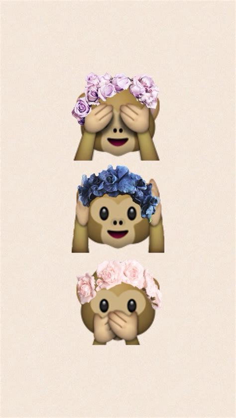 wallpaper flower crown monkey emoji wallpapers wallpapersafari