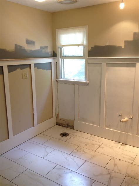 Bathroom With Wainscoting Ideas Wainscoting During Bathroom Renovation My Bathroom Makeover Wainscoting