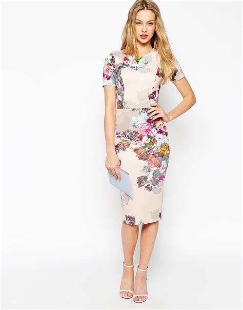 New Jfashion Dress Scuba Printing Hitam Hgb asos floral print scuba bodycon dress in gray lyst