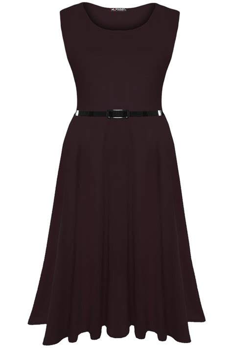 swing skater dress womens plain belted flared franki dress ladies swing midi
