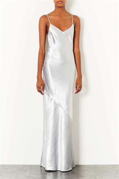 topshop strappy satin maxi dress  white silver lyst