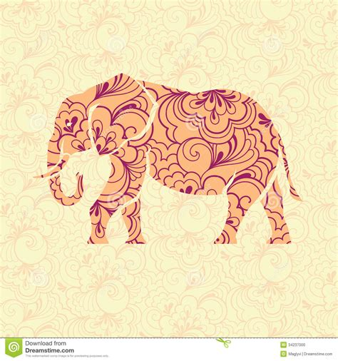 pattern elephant background ornate elephant stock photo image 34237000